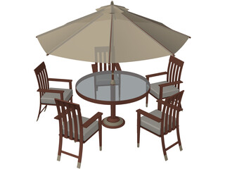 Table Set Patio 3D Model
