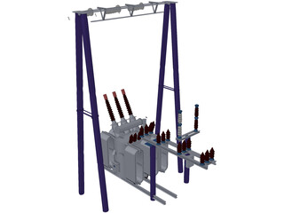 Electric High-voltage Transformers 3D Model