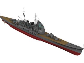 Heavy Cruiser Takao (1932) 3D Model
