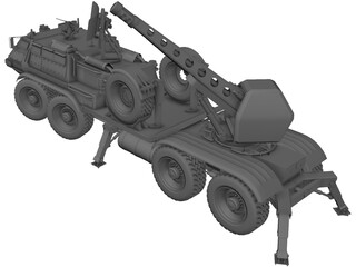 M85 6X6 Self Propelled Cannon 3D Model