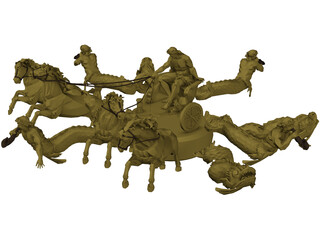Chariot with Horses and other Creatures 3D Model