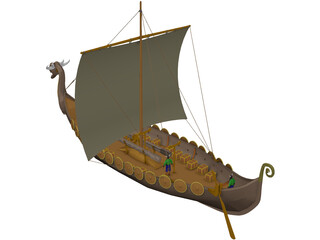 Dragon Longship with Sail 3D Model