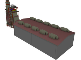 Gas Power Plant 3D Model