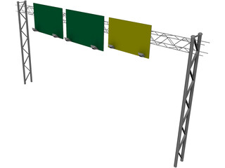 Highway Truss with Signs 3D Model