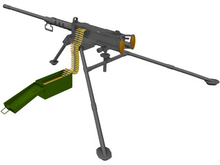 M2A2 HB .50 Cal Machine Gun 3D Model