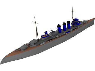 County Class Heavy Cruiser 3D Model