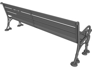 Wood and Metal Park Bench 3D Model