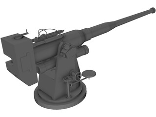 100mm Naval Cannon B25 3D Model