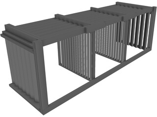 3 Compartment Composting Bin 3D Model