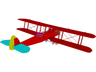 Biplane Curtiss Jenny 3D Model