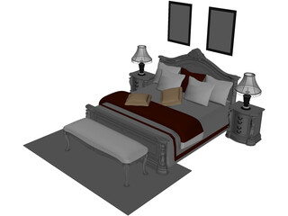 Fancy Bed King Size 3D Model