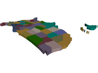 United States Map 3D Model