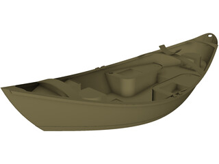Wooden Drift Boat 3D Model