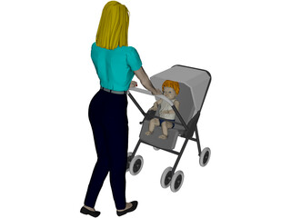 Woman [+Baby Carriage] 3D Model