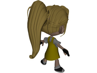 Cartoon Kid Girl 3D Model