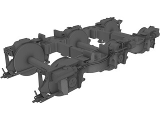 Locomotive Bogie 3 Axle 3D Model