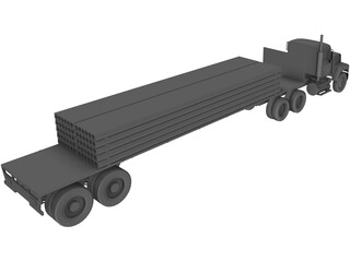 Mack with Flatbed Precast Slabs Trailer 3D Model