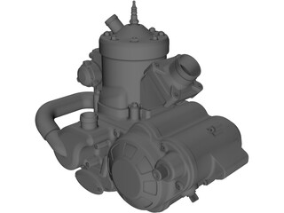 Two Stroke Motorbike Engine 500cc 3D Model