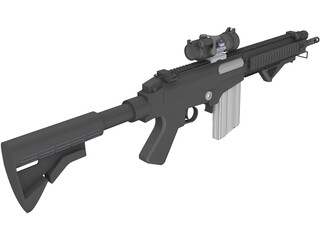 FN FAL Custom Rifle with Aimpoint Scope 3D Model