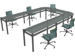 Office Table with Chairs 3D Model