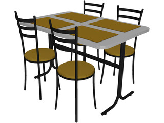 Table And Chairs Snack Bar 3D Model