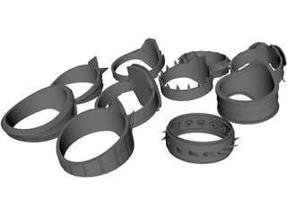 Rings Collection 3D Model