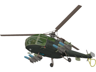 Aeroespatiale Alouette III with Interior 3D Model