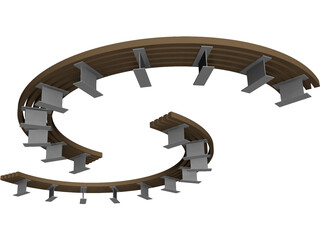 Curved Bench 3D Model