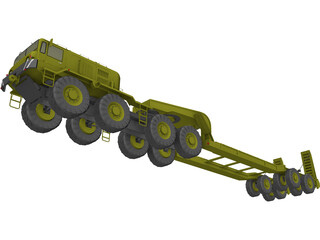 MAZ 543 with Transport Trailer 3D Model