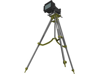 Old Fashion Camera On Tripod 3D Model