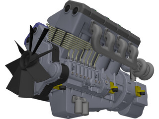 Engine V8 Turbo Diesel 3D Model