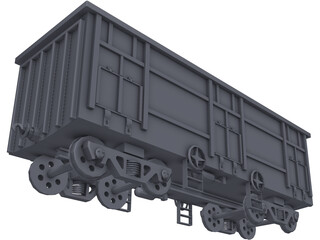 Freight Open Wagon 3D Model