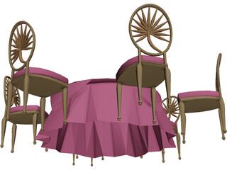 Table and Chairs 3D Model