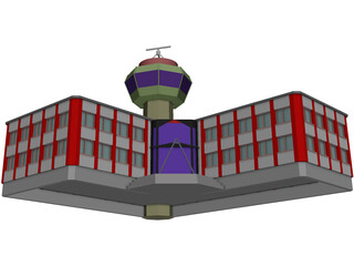 Control Tower with Airport Building 3D Model