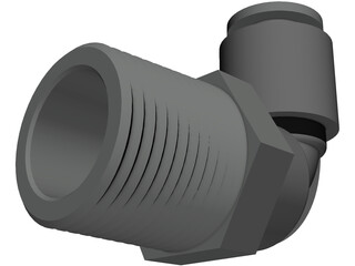 3-8 NPT Push Lock Fitting 3D Model