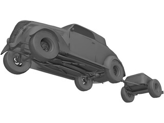 Ford Cabriolet with Trailer (1937) 3D Model