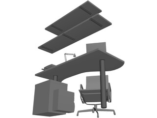 Office Work Space 3D Model