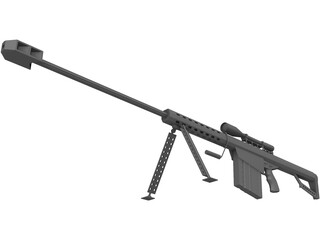 M82A1 Barrett .50 BMG 3D Model