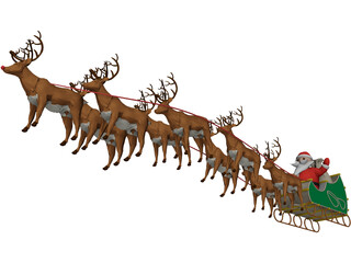 Santa and Sleigh 3D Model