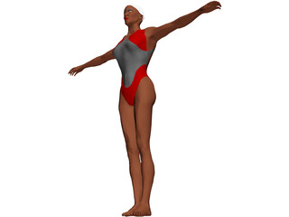 Swimmer Female 3D Model