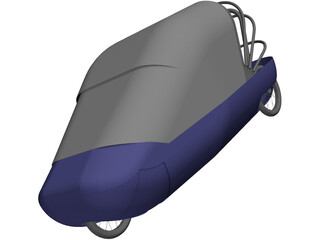 Human/electric side by side recumbent vehicle 3D Model