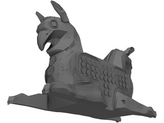Huma Bird Ancient Persian Sculpture 3D Model