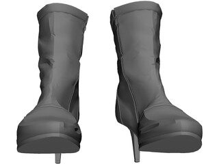 Woman Leather Boots 3D Model
