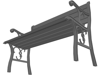Wrought Iron Park Bench 3D Model