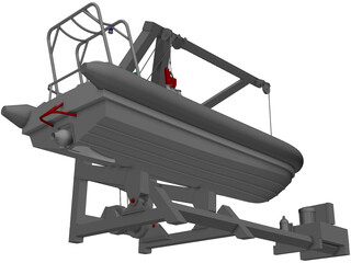 Davit and Inflatable Boat 3D Model