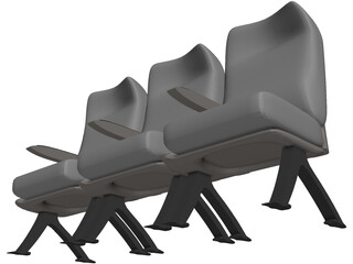 Airbus A320 Economy Seats 3D Model