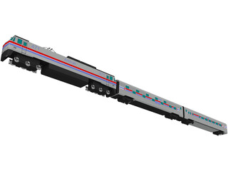 Amtrak Engine and Coachs 3D Model