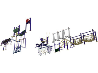 Outdoor Fitness Equipment Collection 3D Model
