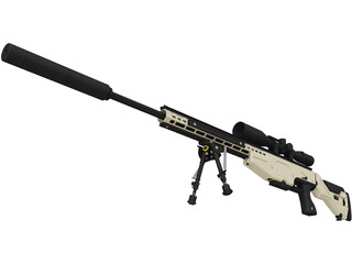 .338 Lapua Magnum Sniper Rifle 3D Model