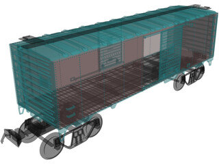 Cargo Wagon Car Box 3D Model